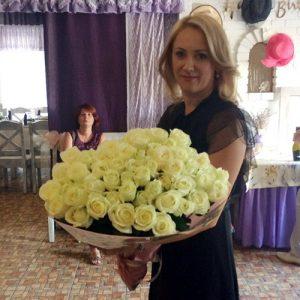 букет на юбилей 101 белая роза