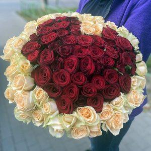 101 роза в виде сердца в Николаеве фото