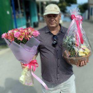розы и альстромерии букет в Николаеве фото
