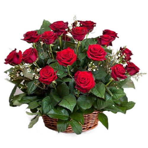 21 красная роза в корзине букет