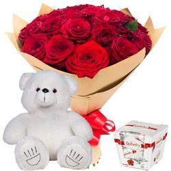 "фото подарка 25 роз, ""Raffaello"" и мишка"