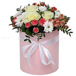 "Шляпная коробочка ""Розовая"" микс букет"