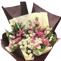 Букет Кустовая роза с эустомой фото