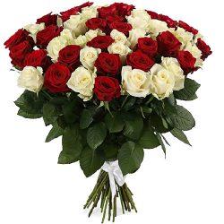 товар 51 роза красная и белая