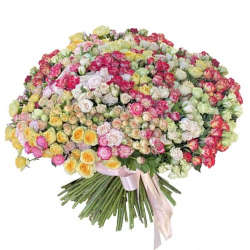 фото большого букета из 201 кустовой розы